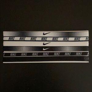 6 Thin Black & White Assorted Nike Headbands